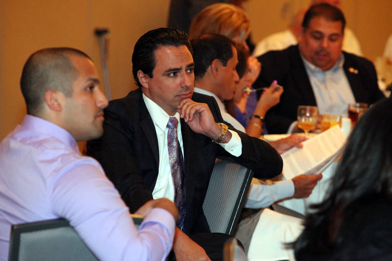 Featured, second from left: Rep. Terry Canales, D-Edinburg, on Thursday, July 9, 2015, during the McAllen Chamber of Commerce's 84th Legislative Session Wrap-Up Luncheon, held at the DoubleTree Hilton Hotel in McAllen.