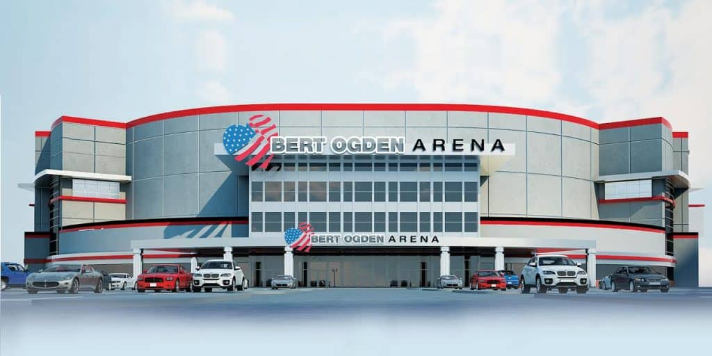 Edinburg EDC: Building permit, valued at $80 million, issued for major construction phase of 190,000 square foot, 8,500-seat Bert Ogden Arena - Titans of the Texas Legislature